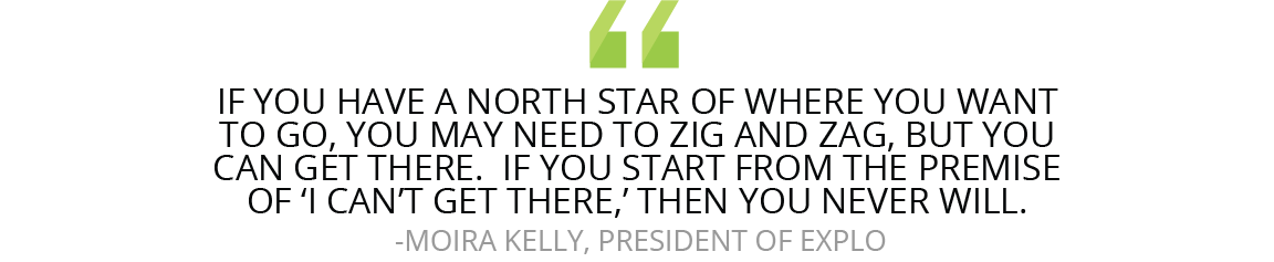 """If you have a north star of where you want to go, you may need to zig and zag, but you can get there,"" Kelly says. ""If you start from the premise of 'I can't get there,' then you never will."""
