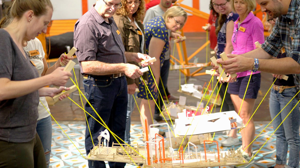 EXPLO's Critical Making Camp for Educators. Participants learn about the power of of presentation through their balanced Maze Makers projects.