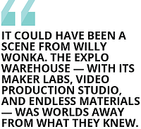 """It could have been a scene from Willy Wonka. The EXPLO warehouse — with its maker labs, video production studio, and endless materials — was worlds away from what they knew."""