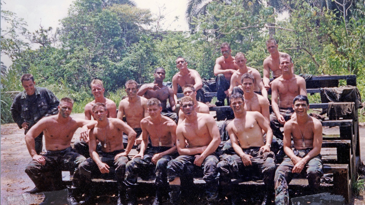 Eric Edwards and his platoon in Panama