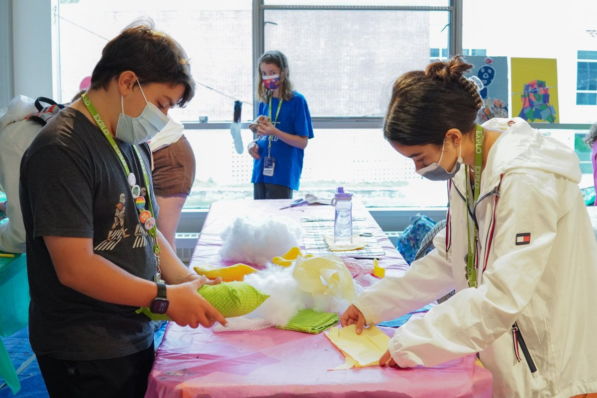 Students working on their inanimate companions today with fabric and stuffing