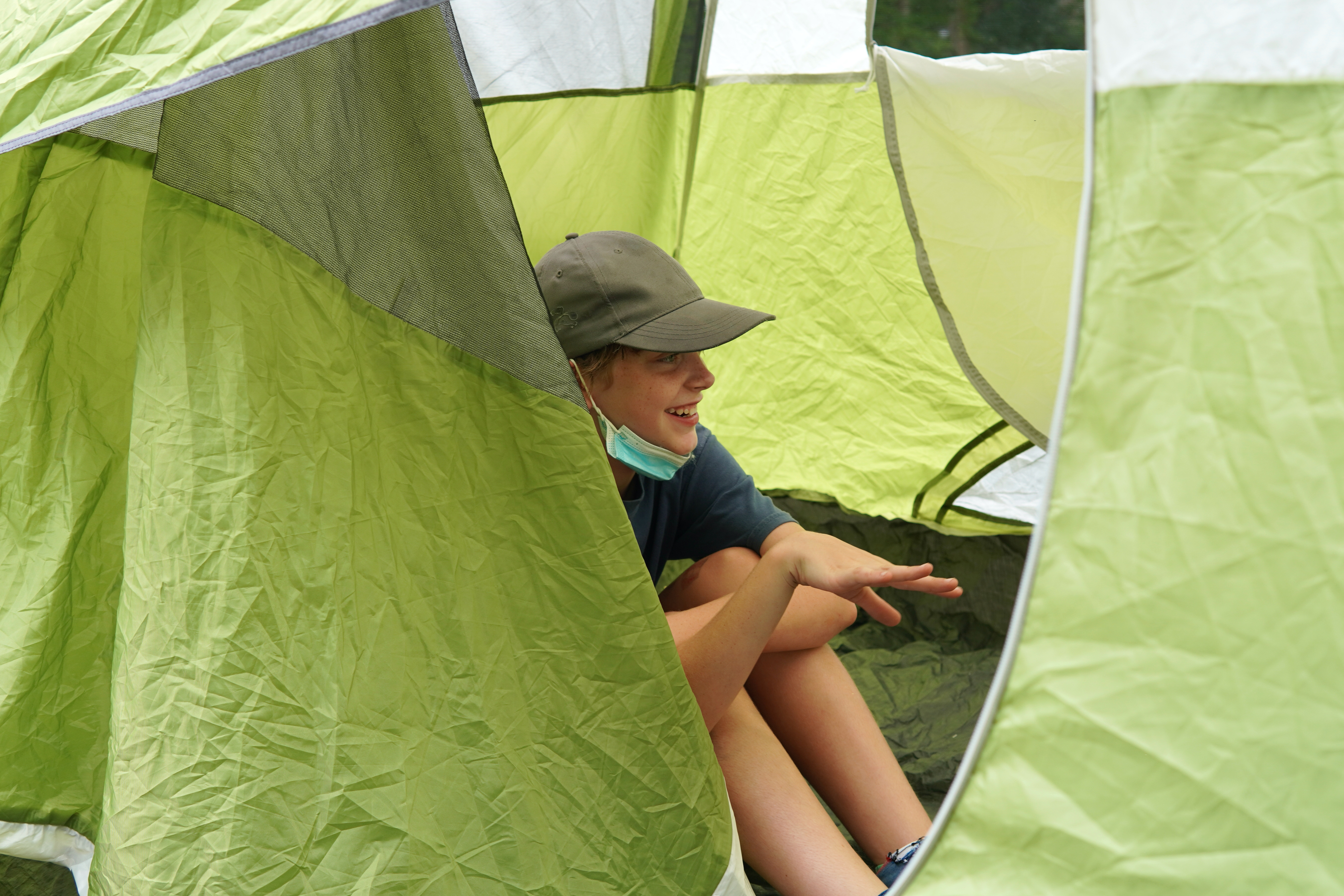 A student inside the tent they set up