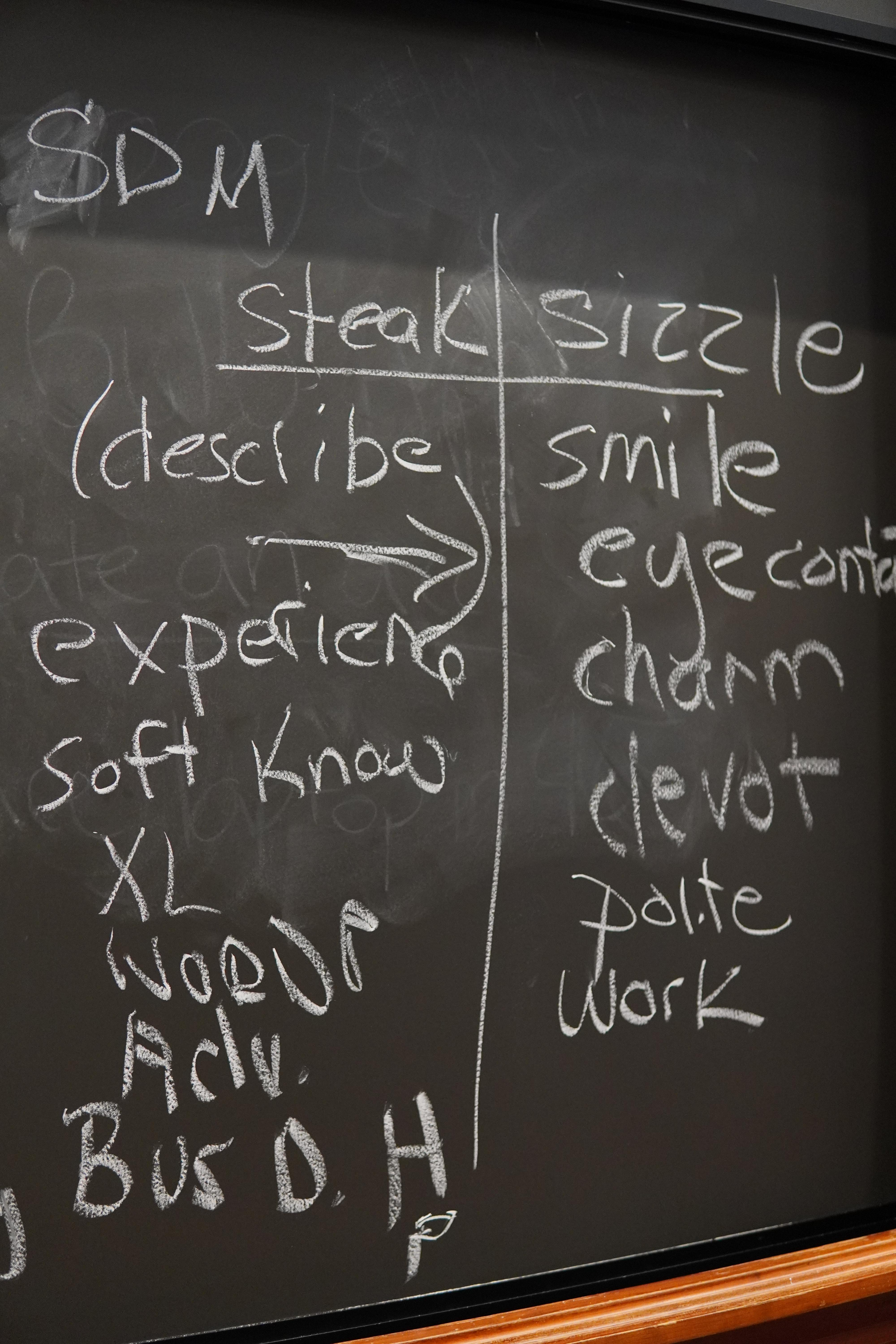A blackboard with a t-chart with Steak and Sizzle as the two headers. Below steak is listed