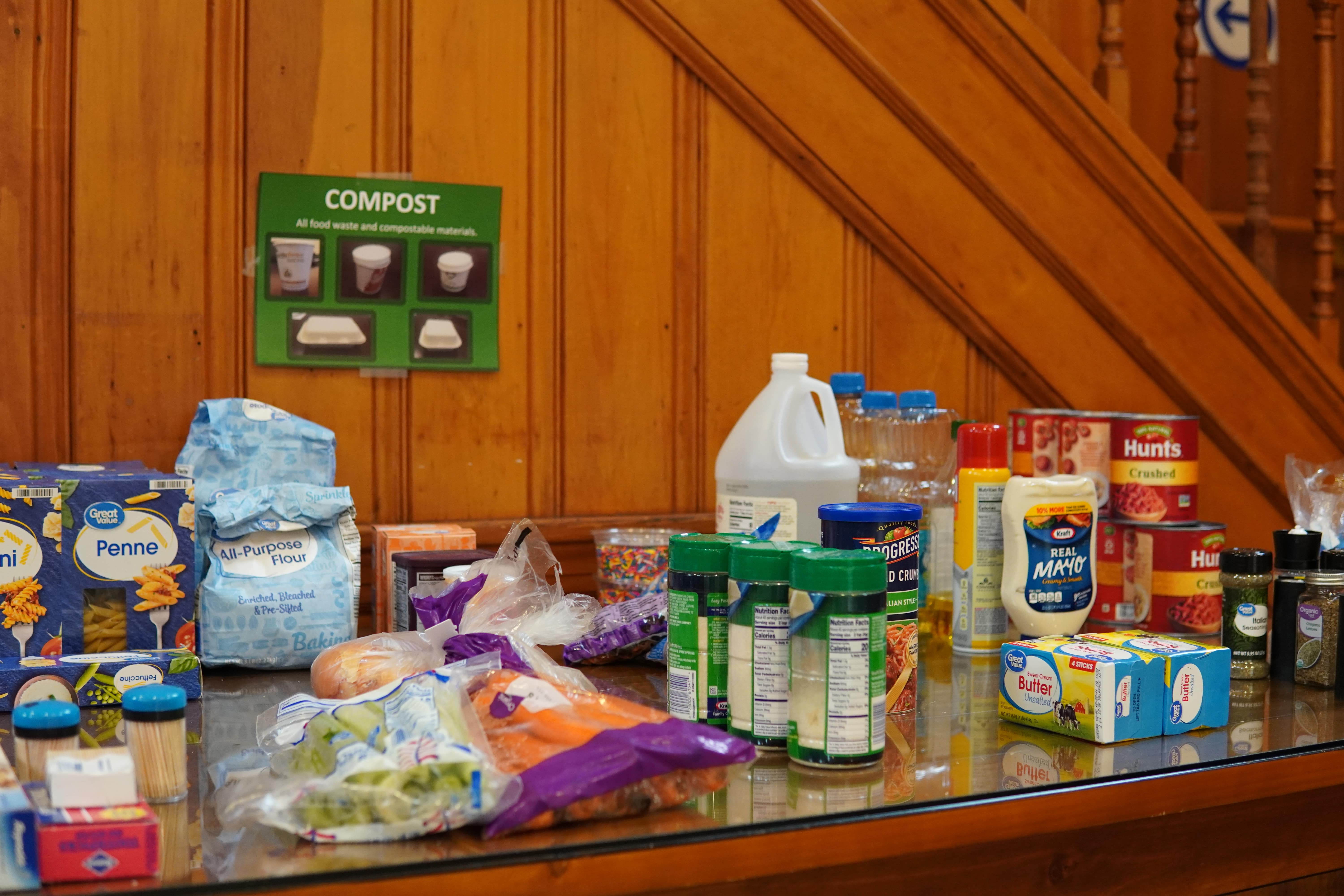 A table of various ingredients spread across a table