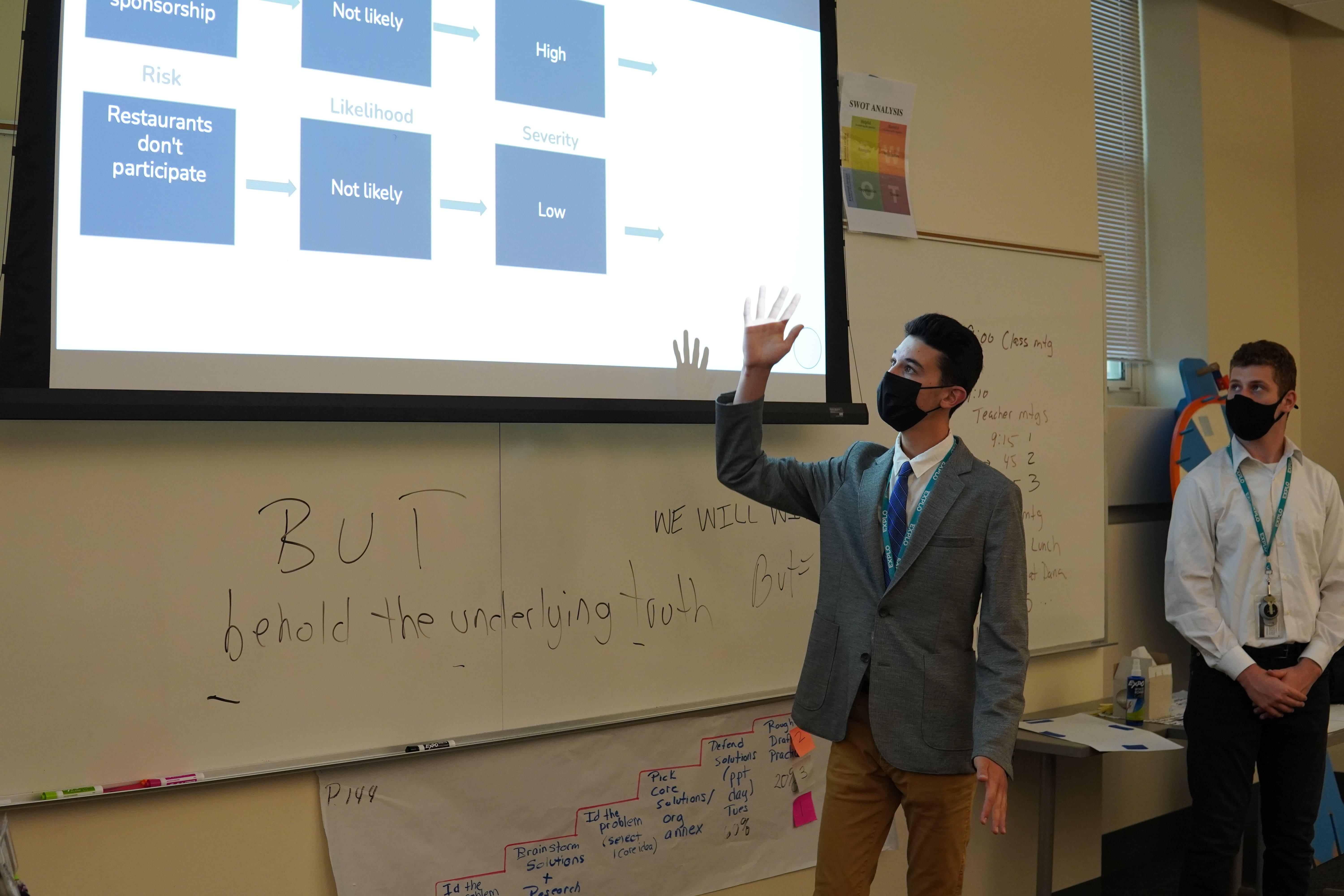 A student gestures to the risks and potential concerns for their business plan under the projector slide.