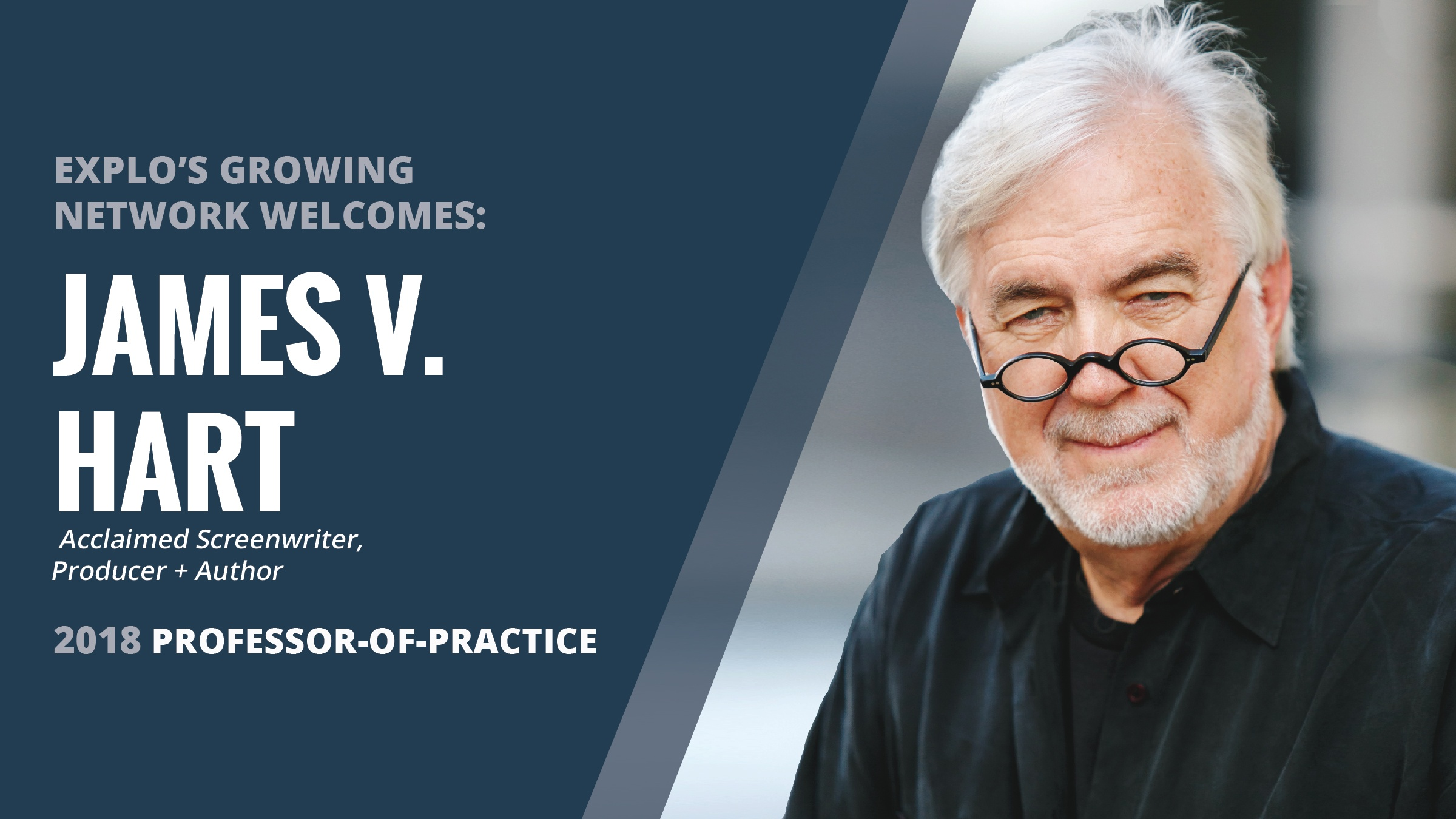 Celebrated Screenwriter J.V. Hart to Join EXPLO as Professor of Practice